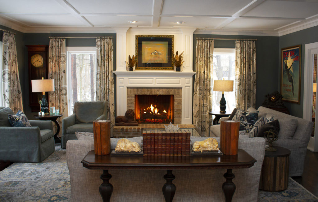 Living Room with Couches, Chairs, and Fireplace by Manhattan Textiles - Interior Designer in Milwaukee, WI