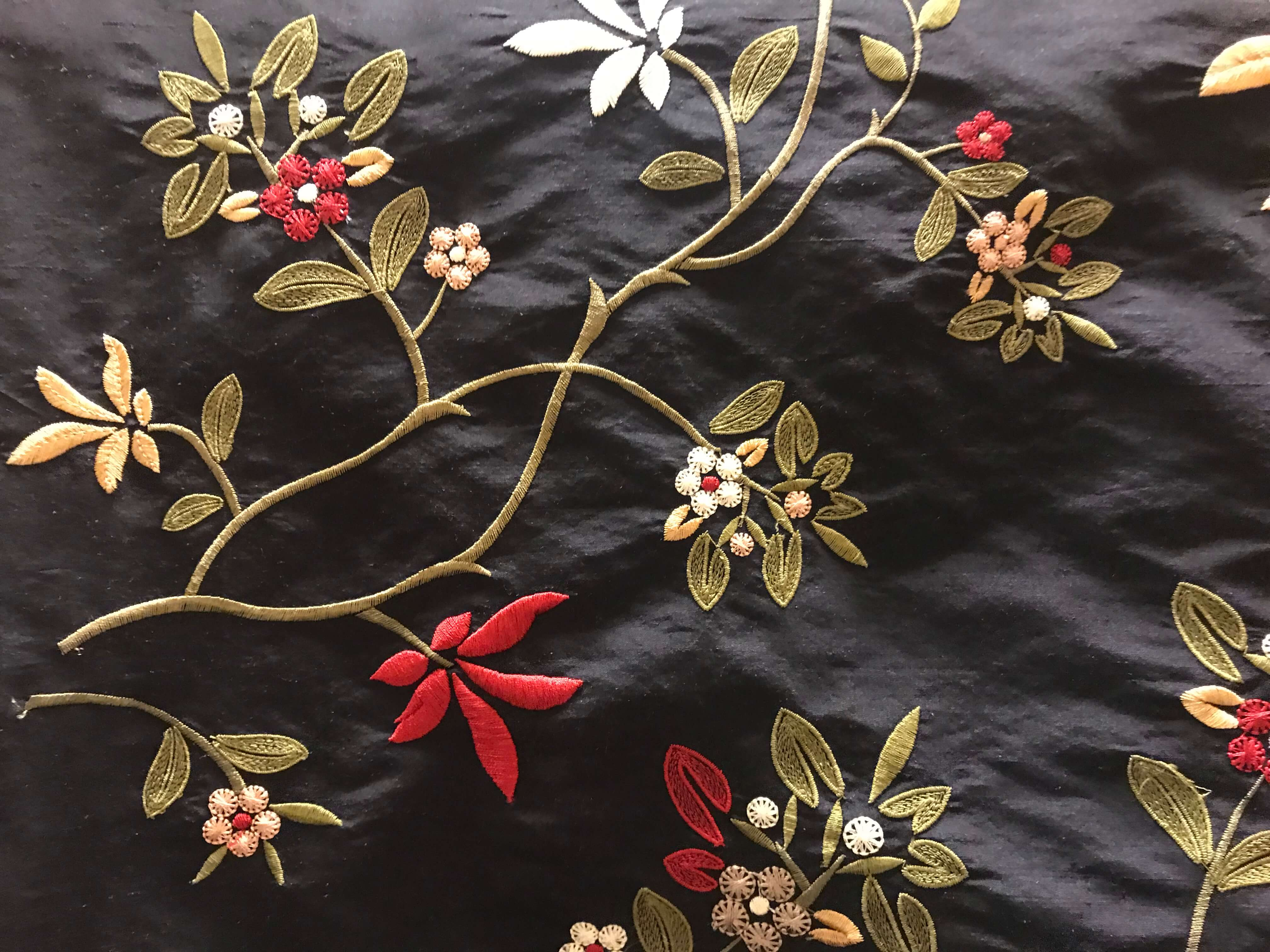 Flower Embroidery on Fabric by Manhattan Textiles - Interior Designer in Milwaukee, WI